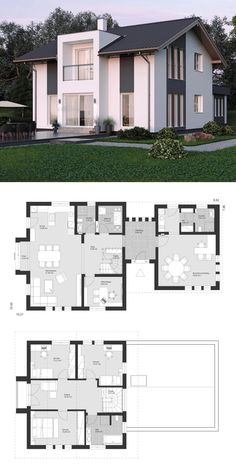 Haus Modern family house architecture floor plan with office extension & gable - prefabricated house Sims House Design, House Front Design, Modern House Design, Sims 4 House Plans, Dream House Plans, House Floor Plans, Casas Country, Modern Family House, Casas The Sims 4