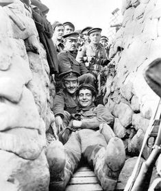Harry Colver and colleagues in a trench.
