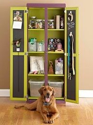great place to store leashes, collars, food, shampoo, treats and etc. My boy has a lot of stuff (he takes after his mom) and one box or shelf won't work
