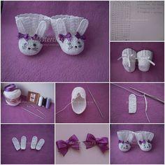 DIY Cute Bunny Crochet Booties