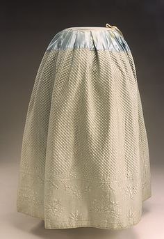 Petticoat fabric: English; garment: English or American petticoat 1770-1800 Clothing textile: light green, loom-woven quilted satin-weave silk, light green, satin-weave silk, and light green silk tape overall: 39in x 26in; 99.06cm x 66.04cm HD F.495A (Historic Deerfield) Gift of Mrs. Arthur F. Draper
