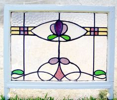 29x22 Antique Vtg Nouveau Old Carved Frame Leaded Stained Glass Victorian Window #unknown
