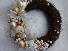 Vánoční věnec na dveře...mašličkový zlatý *