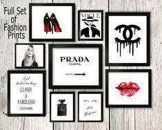 Fashion set prints Coco Chanel perfume print kate ... - #Chanel #Coco #Fashion #kate #perfume #print #Prints #set #whitewalls