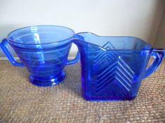 blue depression glass sugar and creamer set