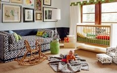 Fun modern nursery with lots of patterns and textures