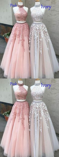 Two piece lace appliqued prom dresses,long prom dresses,prom dresses 2018,#sheergirl