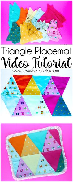 Triangle Placemat Sewing Tutorial: This is a great tutorial if you are new to sewing with triangles. Beginners and seasoned sewists alike will want to make these cute placemats. Click through for the full tutorial and a video walkthrough.   www.sewwhatalicia.com