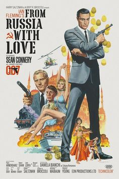 🎬 From Russia with Love 1963 dir Terence Young ** Sean Connery Daniala Bianchi ( James Bond Movie Posters, Old Movie Posters, Classic Movie Posters, James Bond Movies, Cinema Posters, Movie Poster Art, Classic Movies, Film Posters, Old Movies