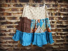 Lg Bohemian Gypsy Skirt // Large// Upcycled Boho by emmevielle, $67.00