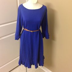 RARE Lilly Pulitzer royal blue sweater dress Gorgeous ruffle detail! Fabulous color, would look so cute belted! *belt is not included Lilly Pulitzer Dresses