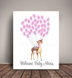 Boho Woodland Baby Shower Guest Book for Thumbprints, Deer Woodland Girl Nursery, Thumbprint Balloons, Woodland Birthday Guest Book by MelissaWynneDesigns on Etsy