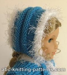ABC Knitting Patterns - Faux Fur Trimmed Hat for American Girl Doll