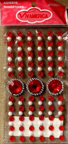 Vivamerica Self-Adhesive Red Medallion Rhinestone & White Pearl Embellishments