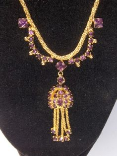 Vintage Purple Rhinestone Festoon Necklace $9.99 on ebay