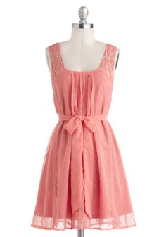 Pleasantly Surprised Dress - Mid-length, Pink, Solid, Cutout, Lace, Belted, Casual, A-line, Tank top (2 thick straps)