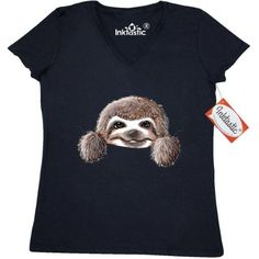 Inktastic KiniArt Sloth Women's V-Neck T-Shirt By KiniArt Cute Cartoon Art Pocket Hippopotamus Elephant Rabbit Beaver Owl Hedgehog Hippo Badger Clothing Apparel Tees Adult Kim Niles, Size: Large, Black