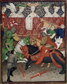 """Jousting. Christine de Pizan, 'Le Duc des vrais amants' in BL Harley MS 4431 fol. 150r: """"The Book of the Queen"""" (various works), c. 1410-14 (France - Paris). British Library, London"""
