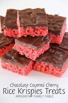 Chocolate Covered Cherry Rice Krispies Treats - Around My Family Table - Rice Recipes Valentine Desserts, Köstliche Desserts, Delicious Desserts, Dessert Recipes, Valentines, Fudge Recipes, Breakfast Recipes, Vegan Recipes, Yummy Treats