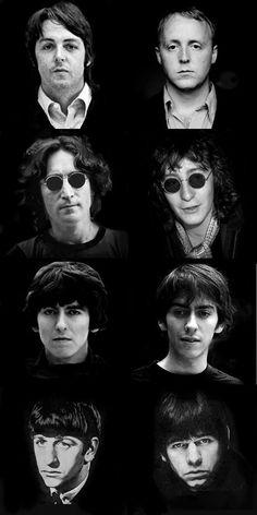 The Beatles and their sons: top - bottom...Paul McCartney James McCartney, John Lennon Julian Lennon, George Harrison Dhani Harrison, Ringo Starr Zak Starkey. by Eva