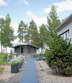 Puiset käytävät halkovat pihapiiriä helpottaen kulkua rakennukselta toiselle.