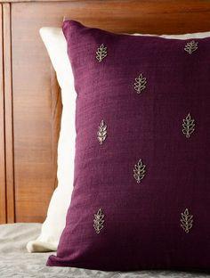 Wine Leaf Gota Patti Cushion Cover - 16in x 16in - Buy Home Textiles > Cushions > Wine Leaf Gota Patti Cushion Cover - 16in x 16in Online at Jaypore.com