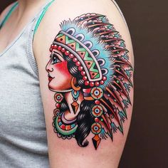 American traditional female Indian chief tattoo by @moses_d_mezoghlian.