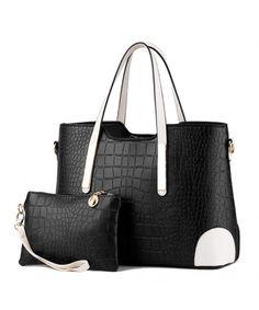 7bfae045b210 Set of 2 Women Fashion Casual Crocodile Pattern PU Leather Tote Handbag  Shoulder Bag - Black - C712ERANDN5
