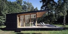 Designed by Christensen & Co. Architects in conjunction with Pernille Poulsen, this Summer Cottage In Denmark is a canopied timber structure measuring only 689 square feet but because of its de… Minimalist House Design, Modern House Design, Small Modern House Plans, Prefab Homes, Tiny Homes, Home Fashion, House Ideas, Cottage, House Styles