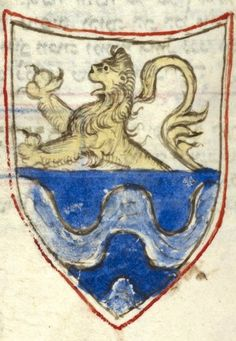 Coat of arms of a shield party per fess, a demi-lion rampant (of Daniel ben Samuel ha-Rofe?) (f°230) -- Prayer book (Forli Siddur) for the entire year, Italian rite, Italy, Central (Romagna, Forli), 1383 [BL Ms Additional 26968]