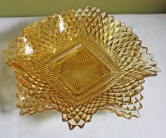 Depression Glass. Vintage Diamond Cut  Amber by AnythingDiscovered