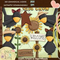Ole Crow Country Fall Clip Art