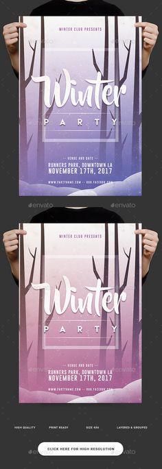 Winter Season Party Flyer Template PSD