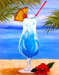 "Parrotheads and non-parrotheads alike will find this painting to be a fun, refreshing break from the daily grind. The bright summer colors and calming beach scene are guaranteed to put you into a relaxed state of mind. Pour yourself a tall cool one, grab your paintbrushes and turn up the Jimmy Buffet song, ""It's 5 o'clock somewhere!"""
