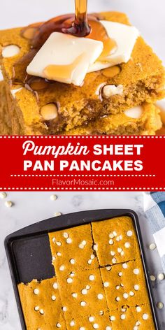 Pumpkin Sheet Pan Pancakes are easy and fun to make! After pouring the batter in the pan, you can sprinkle with as many white chocolate chips as you need for your sweet tooth.   #Pumpkin #Pancakes #PumpkinPancakes #SheetPanPancakes #PumpkinSheetPanPancakes #FlavorMosaic Chocolate Chip Pancakes, Chocolate Chips, White Chocolate, Recipe Using Pumpkin, Pumpkin Recipes, Yummy Yummy, Yummy Recipes, Pumpkin Pancakes Easy, Breakfast Bites