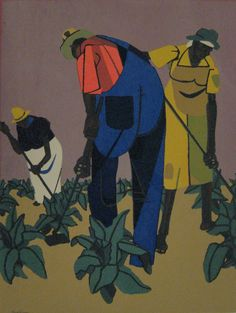 """Tobacco Farms,"" an original color serigraph by Robert Gwathmey - ~ Courtesy Tacoma Art Museum African American Artist, American Artists, Renaissance Artists, Black Artists, Art Museum, Folk Art, Contemporary Art, Illustration Art, Collage"