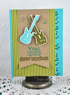 Electric Guitar Birthday Card by Dawn McVey for Papertrey Ink (June 2012)