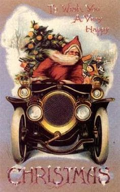 Antique Christmas card  /  Father Christmas drives an antique car  Source: Refining Life