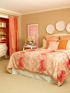 I'm not crazy about this color scheme, but I do like the idea of the painted closet with curtain.  It could also hide a small office space!