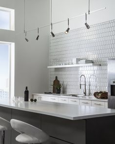 View kitchen track lighting ideas to find inspiration to make your kitchen lighting the best it can be at YLighting. Modern Track Lighting, Foyer Lighting, Kitchen Lighting Fixtures, Bathroom Lighting, Lighting Ideas, High Ceiling Lighting, Task Lighting, Club Lighting, Accent Lighting