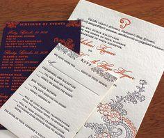 Gajal letterpress wedding invitation design