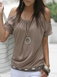 3 Color Off Shoulder  Plain Short-sleeve-t-shirt Short sleeve T-shirts from fashionmia.com