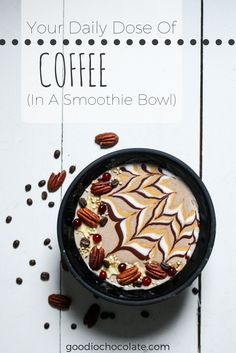 Enjoy your morning coffee in a form of smoothie! This delicious coffee smoothie does not only taste and look good, but also wakes you up in the morning. Click the link for the recipe! Healthy Vegan Breakfast, Healthy Desserts, Coconut Manna, Yummy Smoothies, Smoothie Bowl, Morning Coffee, Bowls, Peanut Butter, Vegan Recipes