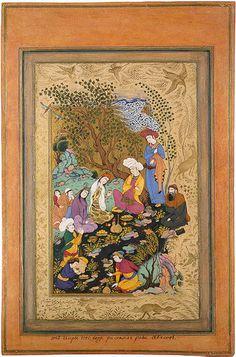 Convivial Party  Riza-i Abbasi.  Gouache and gold. 26x16.7 cm  Iran. Safavid Dynasty. 1612