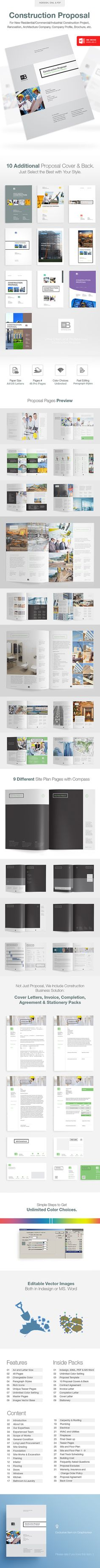 Construction Proposal is a comprehensive documents for new Residential/Commercial/Industrial Construction Project, Renovation, Arc Brochure Layout, Brochure Design, Invoice Design, Book Design Layout, Print Layout, Company Profile Design, Catalogue Layout, Digital Marketing Business, Architecture Company