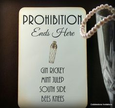 1920s signature drinks Great Gatsby Wedding by CobblestoneInvites, $4.50- having pre-made drinks