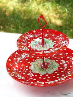 2 tier - glass - cake stand - decoupaged - shabby - romantic - crackle - polka dots - roses - red