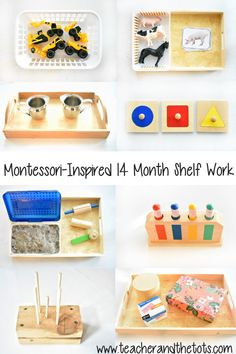 Montessori-Inspired Activities at 14 Months – Teacher and the Tots These are some of the Montessori-inspired activities that rotated on and off Aiden's shelf around 14 months. The mix includes fine motor, language, and… Montessori Baby, Montessori Trays, Montessori Playroom, Montessori Homeschool, Montessori Materials, Montessori Activities, Infant Activities, Montessori 12 Months, 15 Month Old Activities