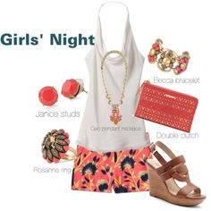 Girls' Night Out with Stella & Dot by eligmora on Polyvore featuring J.Crew, Sole Society, Stewlla & Dot and Ann Taylor