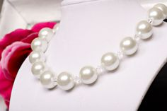 """Item 14101:  15"""" Glass pearl and Swarovski crystal necklace.  Lobster clasp w/extender $39.00"""